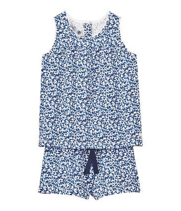 Pijama corto en jersey ligero estampado para niña blanco Ecume / blanco Multico
