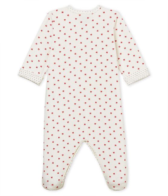 Pelele de tejido túbico para bebé niña blanco Marshmallow / rojo Terkuit