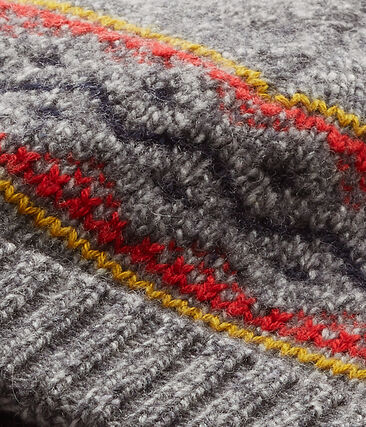 Gorro de niño en lana de mezcla gris Subway / blanco Multico