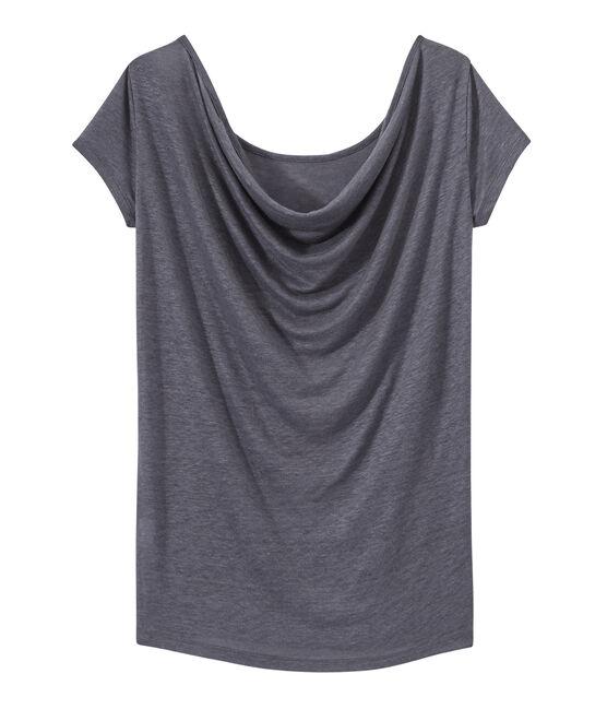 Camiseta de lino con cuello redondo gris Maki / gris Argent