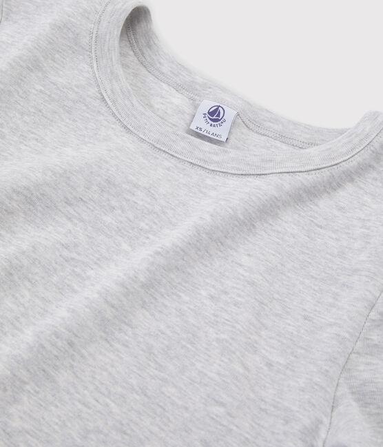 Camiseta icónica con cuello redondo para mujer gris Beluga