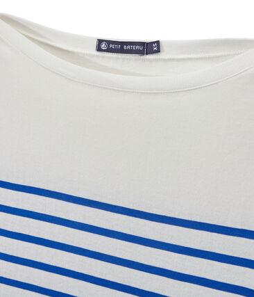 Camiseta de manga larga de rayas para mujer blanco Marshmallow / azul Perse