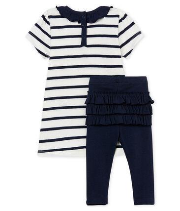 Vestido manga corta de rayas y leggings para bebé niña