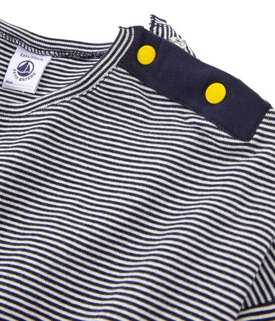 Camiseta manga larga infantil para niña azul Smoking / blanco Marshmallow
