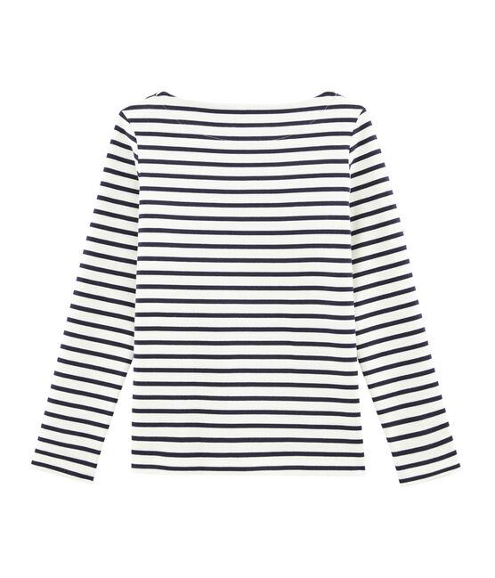 Jersey marinero icónico para mujer beige Coquille / azul Smoking