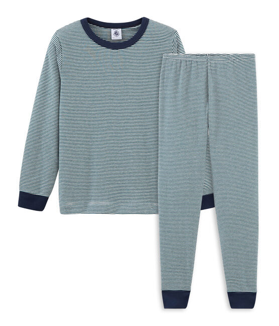 Pijama de punto para niño verde Pinede / blanco Marshmallow