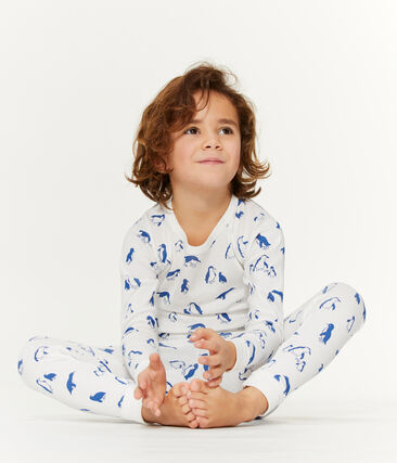 Pijama unisex de rizo picado muy cálido blanco Marshmallow / azul Major