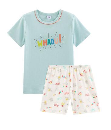 Pijama corto de punto para niño azul Crystal / blanco Multico