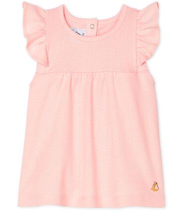 Blusa de manga corta lisa para bebé niña rosa Minois