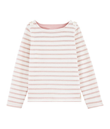 Jersey marinero de niña blanco Marshmallow / rosa Joli Brillant