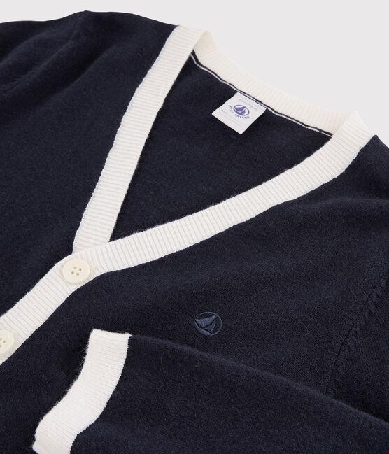Cárdigan de lana y algodón para niño azul Smoking / blanco Marshmallow