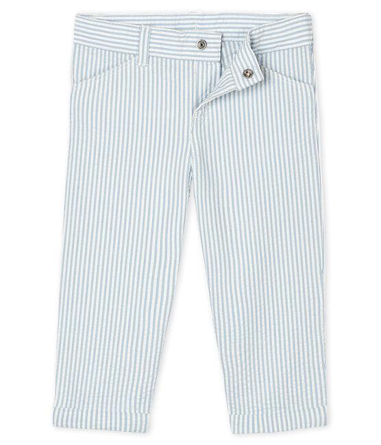 Pantalón milrayas para bebé niño azul Acier / blanco Marshmallow