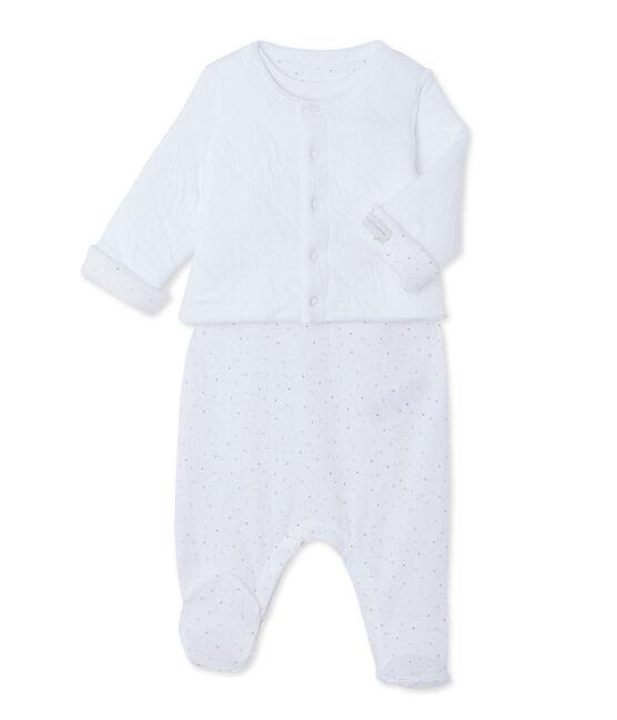 Conjunto de cárdigan y pelele para bebé blanco Ecume