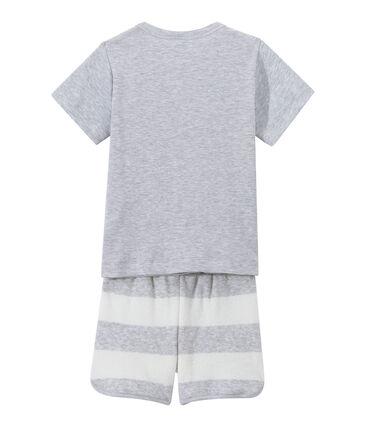 Pijama corto en dos materias para niño gris Poussiere / blanco Lait
