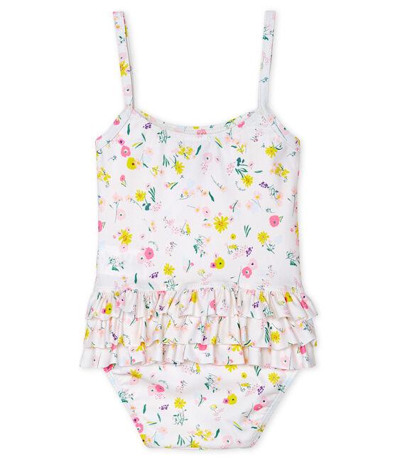 Traje de baño de 1 pieza ecorresponsable para bebé niña blanco Marshmallow / blanco Multico