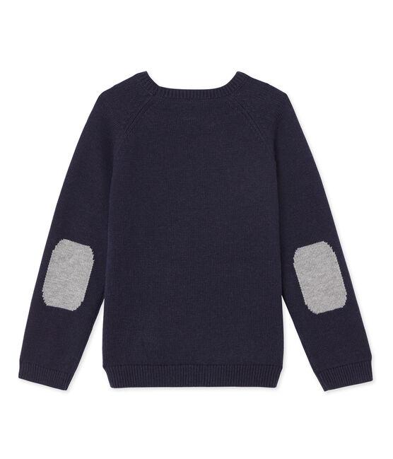 Jersey para chico de lana y algodón azul Smoking