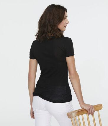 Camiseta de punto ligero para mujer negro Noir