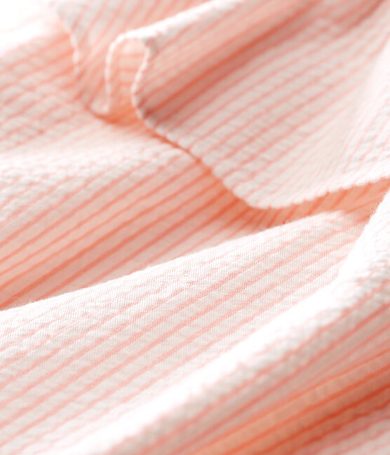 Mono corto de rayas para bebé niña blanco Marshmallow / rosa Rosako