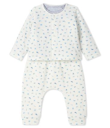 Conjunto de tres piezas para bebé de túbico blanco Marshmallow / azul Toudou