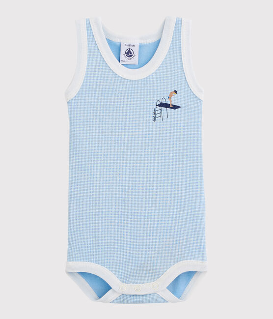 Bodi sin mangas de bebé niño azul Placid / blanco Marshmallow