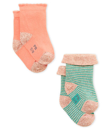 Lote de 2 pares de calcetines para bebé niña