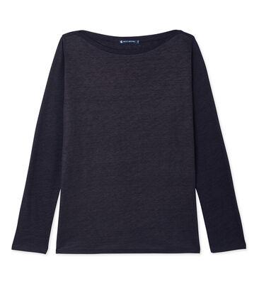 Camiseta de manga larga de lino brillante para mujer azul Smoking / azul Brillant