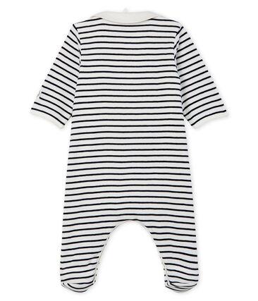 Bodyjama con cremallera para bebé de punto blanco Marshmallow / azul Smoking Cn