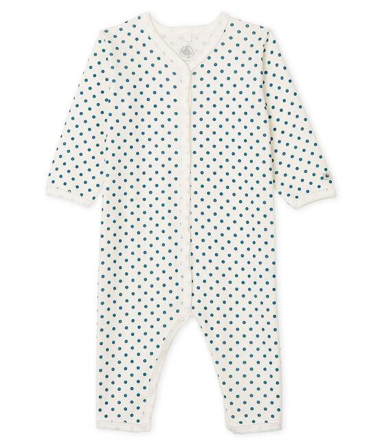 Pijama sin pies para bebé niña acanalado blanco Marshmallow / azul Contes