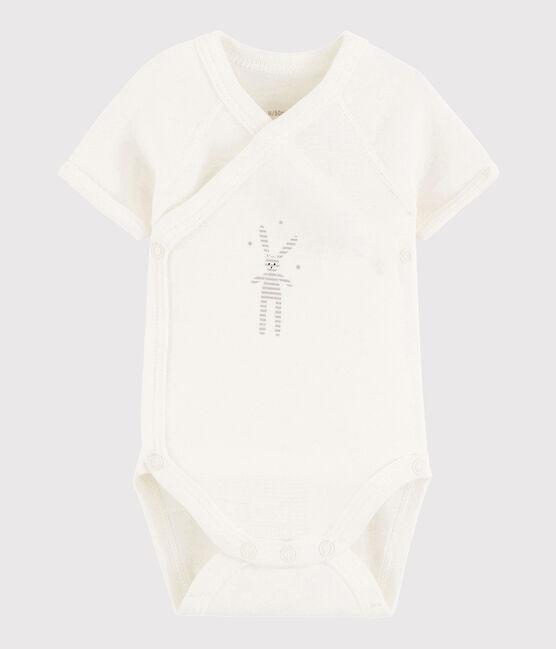 Bodi cruzado de manga corta de bebé niña/niño MARSHMALLOW/DIDOU1