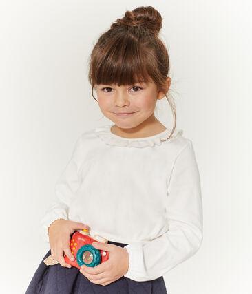 Camiseta manga larga infantil para niña blanco Marshmallow