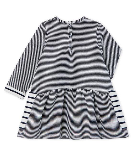 Vestido de manga larga de rayas para bebé niña azul Smoking / blanco Marshmallow Cn