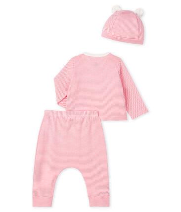 Juego de regalo de bebé de tre piezas de punto rosa Gretel / blanco Marshmallow