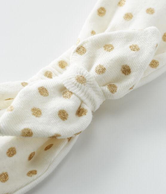 Cinta de pelo bebé niña blanco Marshmallow / amarillo Or
