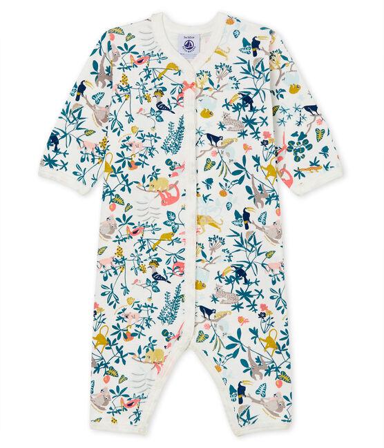Pelele de punto acanalado para bebé de niña blanco Marshmallow / blanco Multico