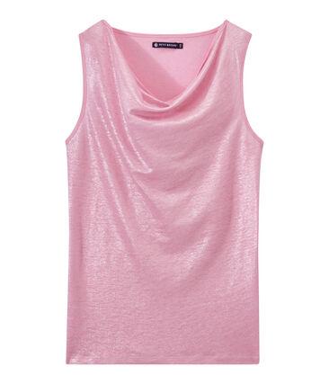 Camiseta sin mangas de lino para mujer rosa Babylone / gris Argent