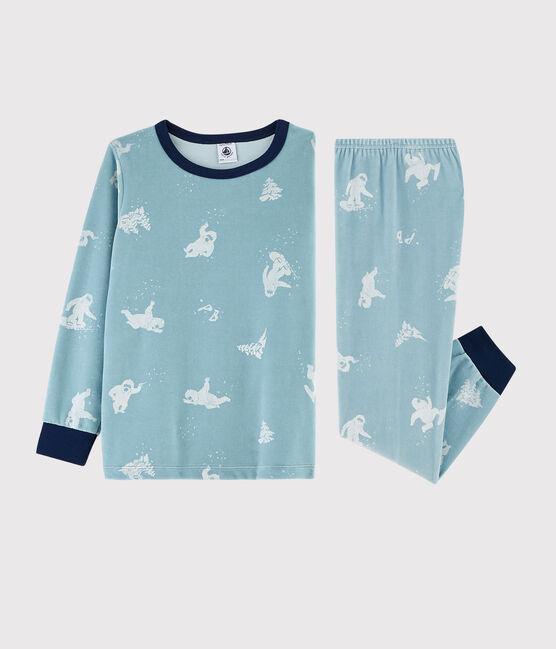 Pijama con estampado de yeti de terciopelo para niño pequeño BRUME/MARSHMALLOW