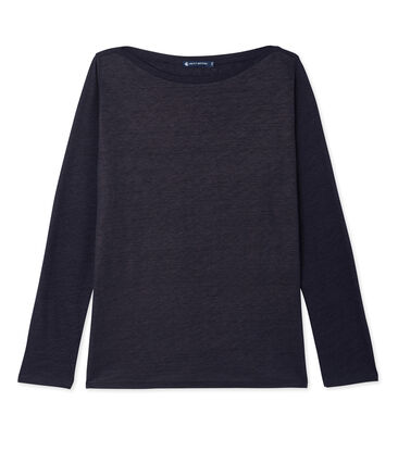 Camiseta de manga larga de lino brillante para mujer