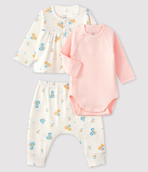 Conjunto de 3 piezas para bebé niña de punto blanco Marshmallow / blanco Multico
