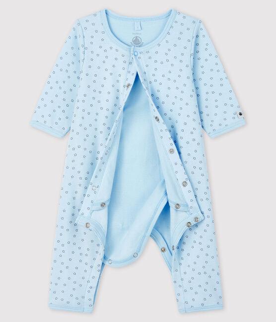 Bodyjama de estrellas azules sin pies de tejido acanalado para bebé niño azul Fraicheur / gris Concrete