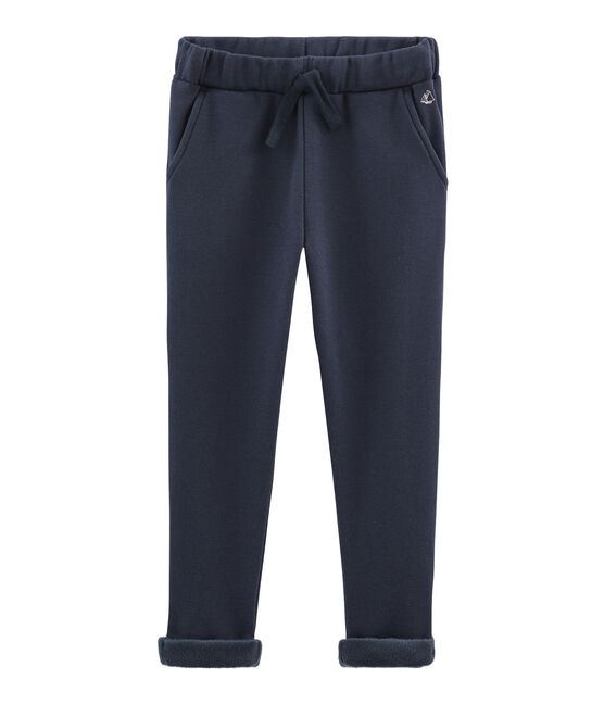 Pantalón de muletón cálido para niño azul Smoking