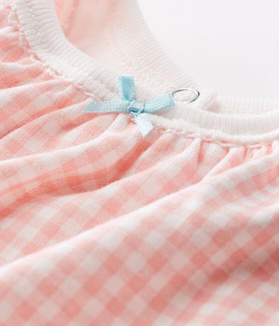 Mono corto de punto para bebé niña blanco Marshmallow / rosa Rosako