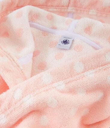 Albornoz de rizo para niña rosa Minois / blanco Lait