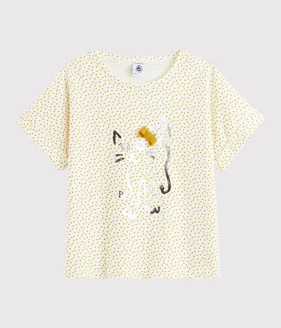 Camiseta estampada de niña blanco Marshmallow / amarillo Boudor