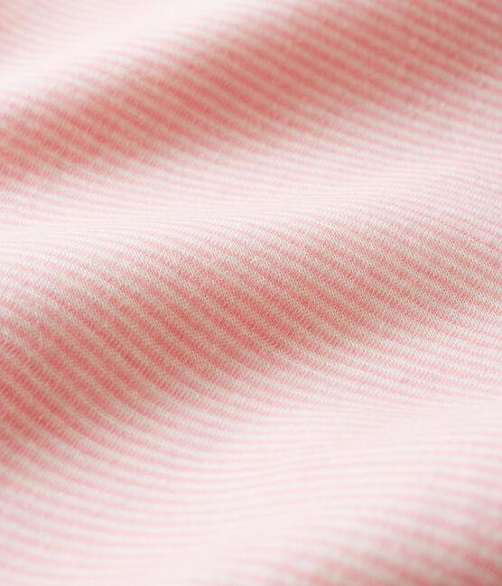 Bodi largo de lana y algodón a rayas para bebé rosa Charme / blanco Marshmallow