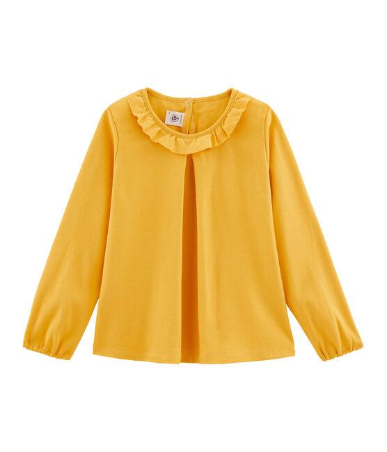 Camiseta manga larga infantil para niña amarillo Boudor