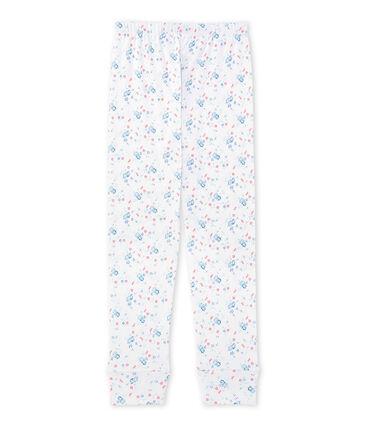Bajo de pijama estampado combinable para niña blanco Ecume / azul Bleu
