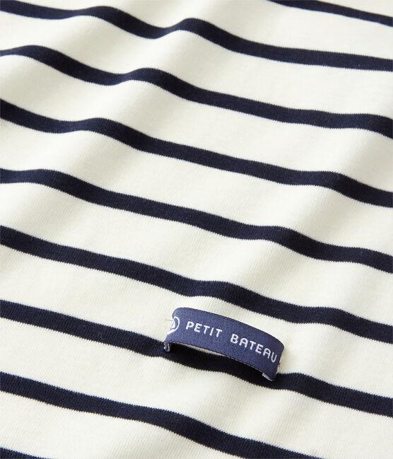 Fular de rayas marineras para mujer beige Coquille / azul Smoking