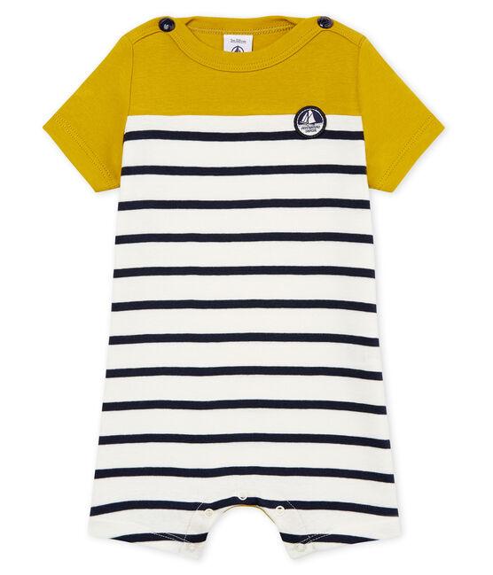 Mono corto de punto 1x1 de rayas para bebé niño amarillo Bamboo / blanco Marshmallow