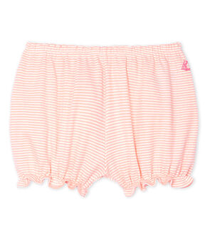 Braguita «bloomer» mil rayas para bebé niña rosa Patience / blanco Marshmallow