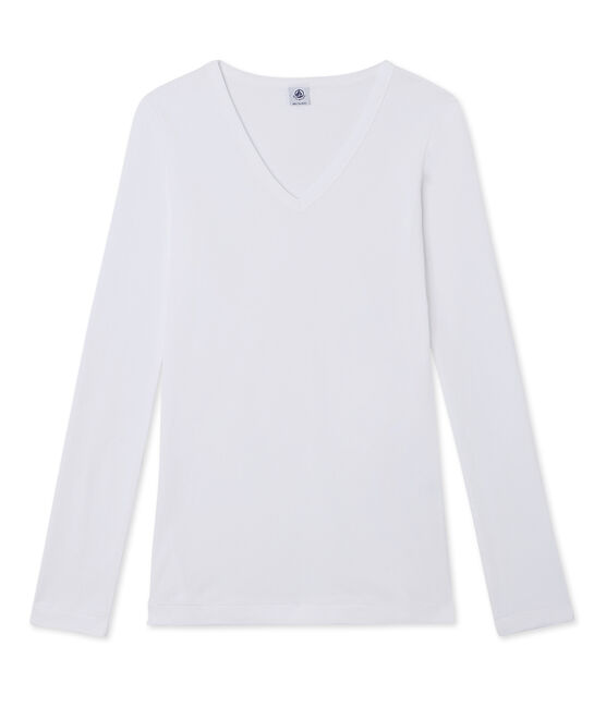 Camiseta de manga larga para mujer con cuello V blanco Ecume